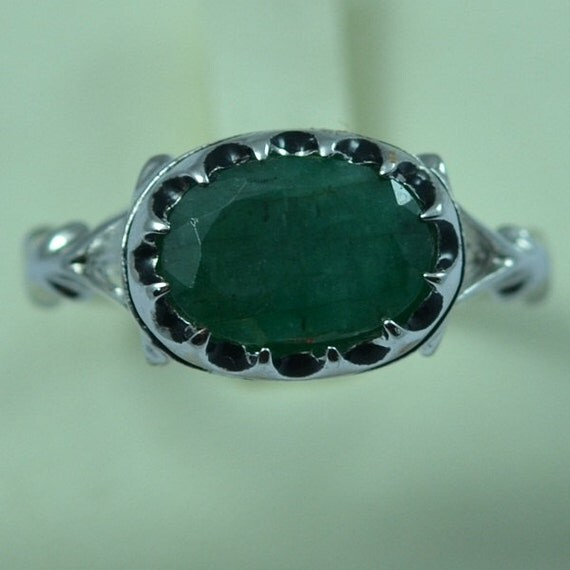 Sterling Silver Natural Emerald Men s Ring Size 11 2