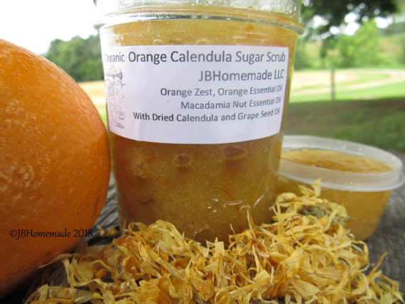 Natural Orange Calendula Herbal Citrus Sugar Scrub Body Polish - 8 Oz