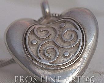 Erotischer Herzanhänger Triskele Heart -  Silberanhänger, Erotikschmuck, BDSM-Schmuck, Triskele, Gothikschmuck, Geschenk, Fetischschmuck