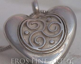 Erotic Heartpendant Triskele heart – silverpendant, Tantrajewelry, Kamasutra, Fetishjewelry, Triskele, Celticjewelry, gift, eroticjewelry