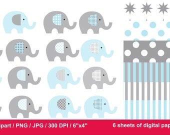 80% Off, Clip Art Elephants / Blue Elephant clipart / Gray Elephant clipart / Blue and Gray digital paper / elephants for scrapbooking /