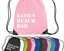 Personalised Beach Bag Drawstring Bag | Backpack Sea Sun Sand Holiday | Splash Proof | Free Delivery to UK Customers | Various Colours