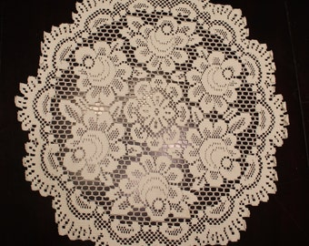Large Round Doily with Rose Design