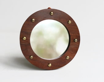 Porthole Mirror, Mahogany Mirror, Nautical Decor, Decorative Wall Mirror, Small Porthole, Handmade Wood Frame, Reclaimed Wood, Round Mirror