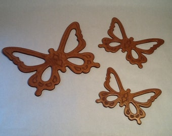Wooden Butterfly Trio Wall Decor Vintage 1970's