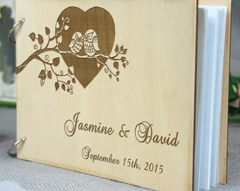 Unique personalized Wedding-Anniversary-Bridal shower guest book, Custom gift, Memory album, Laser engraved, Rustic theme, Wedding decor.
