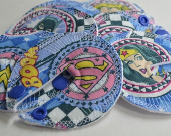 Feeding tube pads, Set of SEVEN, bamboo, cotton, G tube, J tube, GJ tube, button buddies, PEG tube dressing pad, super hero, tube feeding