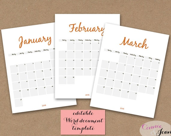 Modifiable Calendar 2016 | Calendar Template 2016
