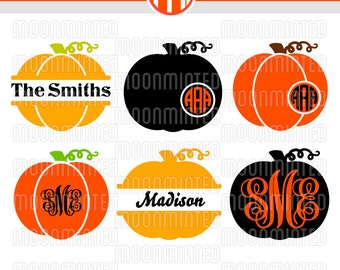Fall Pumpkins SVG Cut Files - Monogram Frames for Vinyl Cutters, Screen Printing, Silhouette, Die Cut Machines, & More