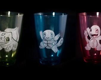 Starter Pokemon Engraved Drinking Glasses