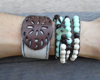 Brown Ivory Champagne Sparkly Ice Blue Jade Wrap Patch Cutout Distressed Up-Cycled Leather Cuff Bracelet Stacking Set