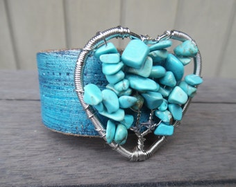 Turquoise Blue Silver Beaded Tree of Life Heart Pendant Upcycled Leather Cuff Bracelet