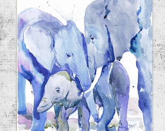 Elephant art, elephant watercolor painting, boy nursery decor, elephant nursery art print, elephant wall art, elephant painting, valrart