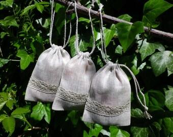 10 pcs Natural Linen Gift Bags, Linen Drawstring Pouch, Linen Bag With Lace, Bachelorette Parties, Wedding Weekend Linen Bags, 3 x 4 inch