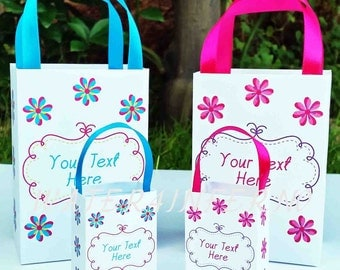 Birthday Party Favor Bag, Baby Shower Party Favor Bag, Flower Favor Bag, Pink and Blue Party Bag