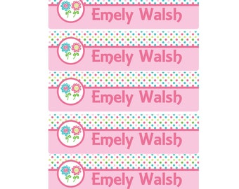 48ct Flower Kids School Labels, This Belongs to: Name Labels, Personalized Name Labels -Waterproof Labels- Daycare Labels