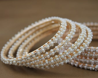 Exquisite Designer Bangles with Pearl & Cubic Zirconia, Set of 4 - #1063 Size 2.6 / 2.10