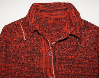 Vintage 1970's - Handmade Red and Black Cardigan 1970's Grandfather sweater