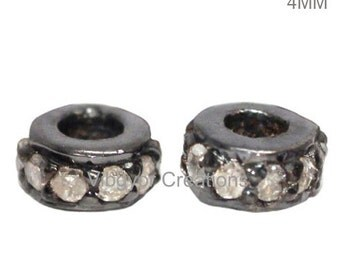 Pave Diamond Spacer Bead 925 Sterling Silver- Diamond Spacer 4mm