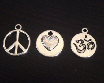 Peace Love Om Necklace Jewelry Making Kit 13 sets