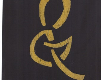 "SALE gold black ampersand gold black monoprint original print original art ""sample"""