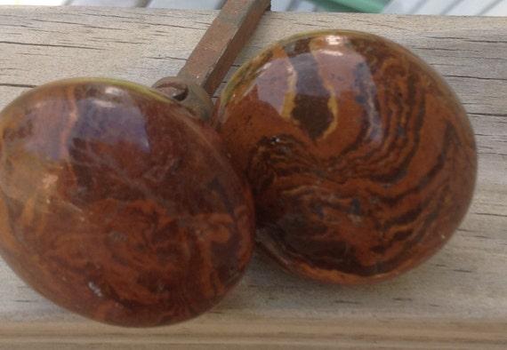 Antique Porcelain Door Knobs wood grain porcelain door knobs in the tiger eye design. vintage