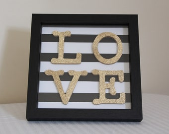 LOVE, Black, white and Gold shadow box Wall art