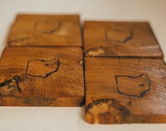 Wood Coaster Set- Ohio Branded