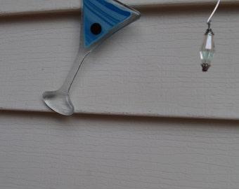 Martini Time!  Fused glass blue martini sun catcher.