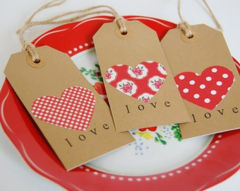 12 Hand Stamped Love Gift Tags, Heart Gift Tags, Gingham Gift Tags, Polkadot Gift Tags, Floral Gift Tags, Wedding Gift Tags, Brown Gift Tags