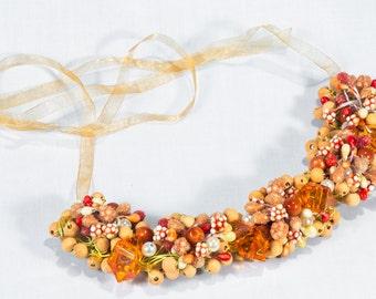 Orange bib necklace, Orange chunky necklace, Yellow beadwork necklace, Yellow beaded necklace, Orange jewelry, Yellow beads necklace, UK
