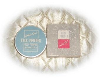 Vintage 1940's Mais Oui Rose Pompon Face Powder Makeup NOS