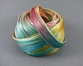SHIBORI SILK RIBBON [20 cm] - Ecru Borealis - original hand dyed by ShiboriGirl bias cut silk satin ribbon