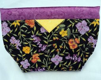 Black Floral Snap Bag
