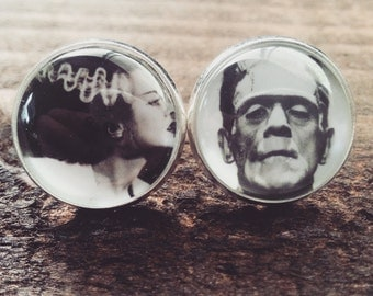 Frankenstein and his Bride Stud Earrings