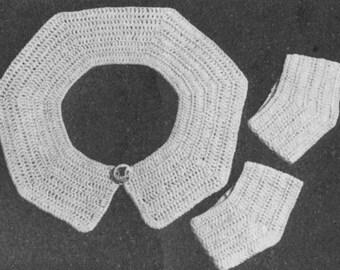 Vintage 1942 Crochet Pattern Girls Collar and Cuffs - digital download