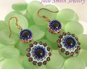 Peacock Beadwork Earrings