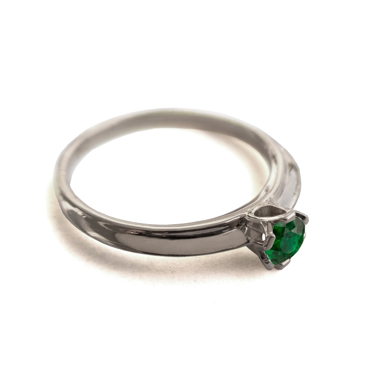 Emerald Ring 14K White Gold and Emerald engagement