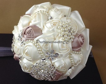 Champagne Wedding Bouquet with Beads Rhinestones Crystal Satin Ribbon Pearls Bridal Bouquet Bridesmaids Bouquet Wedding Flowers