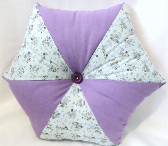 """lilac accent pillow, pointed patchwork scatter cushion , throw cushion in lilac and mint floral fabric 17"""" across"""