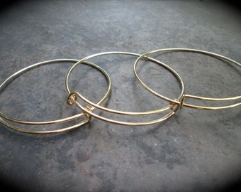 SALE Set of 9 Gold Finish adjustable bangle bracelet blanks expandable bangle bracelets