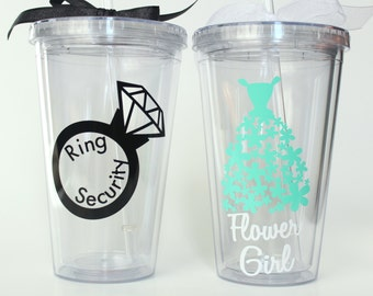Set of 2 - Personalized Flower Girl Tumbler - Personalized Ring Bearer Tumbler - Will You Be My Flower Girl  - 16 oz Tumbler