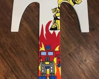 Wooden letters, bedroom letters, boy letters, Transformer, Optimus Prime