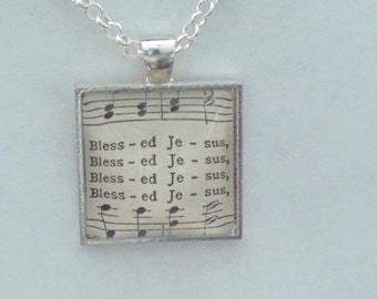 Blessed Jesus / sheet music - glass pendant necklace