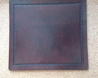 Hand stamped leather mouse pad