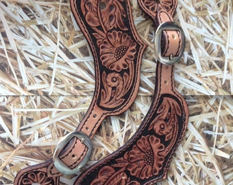 Hand tooled deluxe spur straps