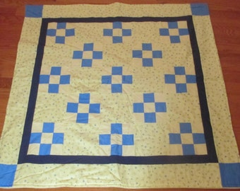 Handmade Modern Baby Quilt/Lap Quilt: Yellow and Blue Checkered