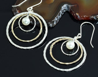 Two Tone Pearl Earrings, Graduated Hoops, 925 Sterling Silver & 14K Gold Filled, Bridal, Wedding, Bridesmaids Gift X660