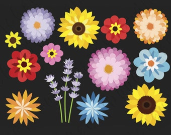 Flowers Digital Clipart - Sunflower, Lavender, Zinnia, Margarita, Daisy