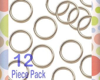 "1 Inch O Rings, Nickel Finish, 12 Pieces, Handbag Purse Bag Making Hardware Supplies. 1"", RNG-AA070"